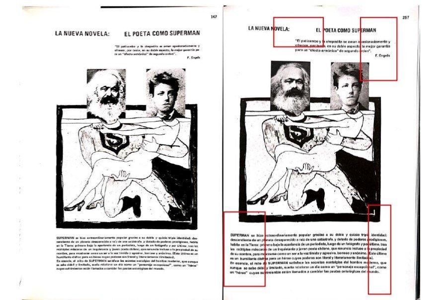 Página de la demanda civil en la que se comparan ambas ediciones.